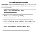 Interview Questionnaire to Meet a Classmate in English and