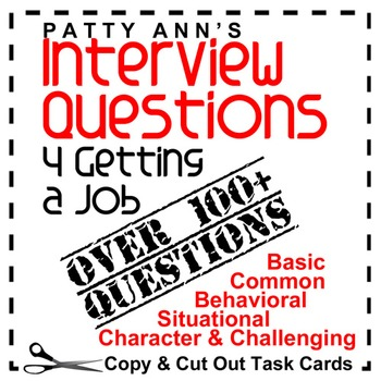 Career Interview Questions 4 Getting a JOB! 100+ Copy & Cut Out Task Cards