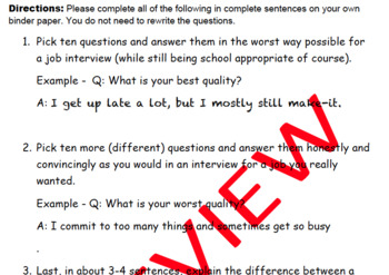 Interview Questions Activity: 40 Questions & Activity