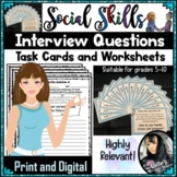 Social Skills - Interview Questions Task Cards and Worksheets