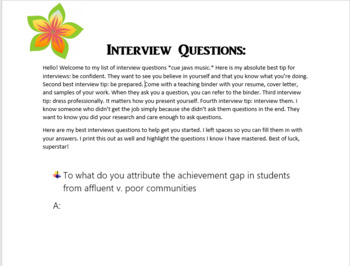 Interview Questions and Resources for Teachers