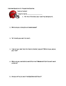 Interview Questions for Perspective Coaches