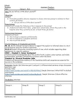Interview Skills - Lesson Plan