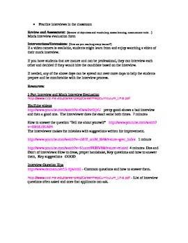 Interview Skills Lesson Plans
