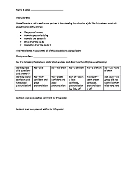 Interview Skit criteria and peer assessment rubric