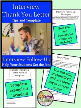 Thank You Letter - Resume and Interview Follow Up Letter - Editable