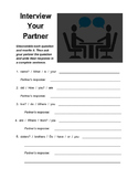 Interview Your Partner! (For English Learners!)