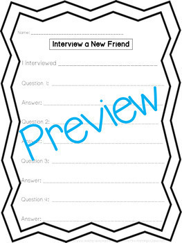 Interview a New Friend or Neighbor Templates!