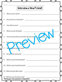 Interview a New Friend or Neighbor Templates - Differentiated!