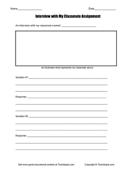 Interview with a Classmate Writing Assignment