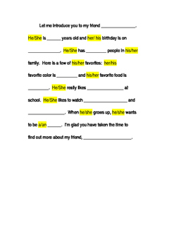 Interview with a Friend Paragraph Template