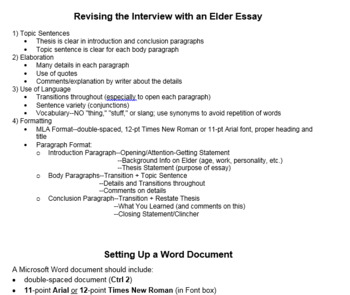 Interview with an Elder Essay Project