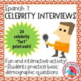 Spanish 1 - Celebrity Interviews in Spanish! Fun Interactive Activity