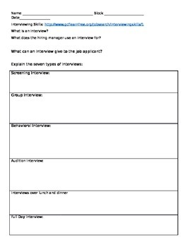 Interviewing Skills - Worksheet