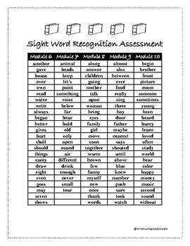 HMH Into Reading Grade 1 Sight Word Assessment