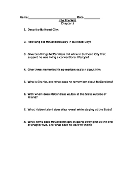 Into The Wild chapter 5 comprehension questions