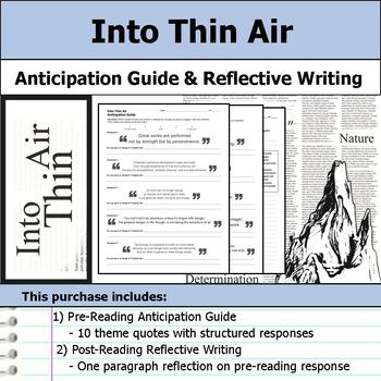 Into Thin Air - Anticipation Guide & Reflection