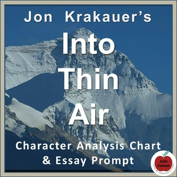 Into Thin Air: Character Analysis Chart & Essay Prompt