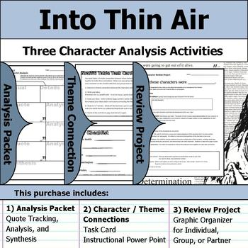 Into Thin Air - Character Analysis Packet, Theme Connections, & Project