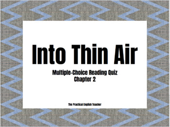 Into Thin Air Multiple Choice Quiz for Chapter 2