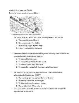 Into Thin Air Multiple Choice and Text - Dependent Exam Questions