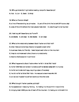 Into Thin Air Quiz Introduction - Chapter 6
