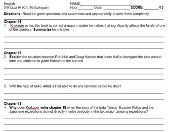 Into Thin Air Quiz Pack - 4 Reading Analysis Quizzes Assessing Multiple Skills