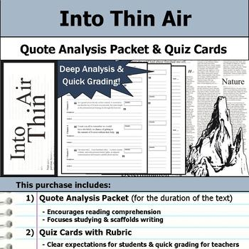 Into Thin Air - Quote Analysis & Reading Quizzes