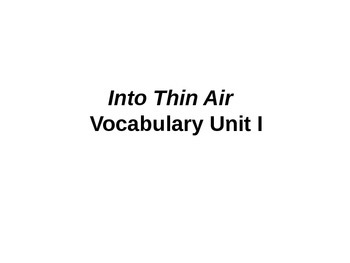 Into Thin Air Vocabulary Unit