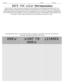 Into the Wild Author's Note and Chapters 1-3 Activities