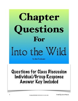 Into the Wild Chapter Response Questions; Secondary ELA; AP Lang and Comp