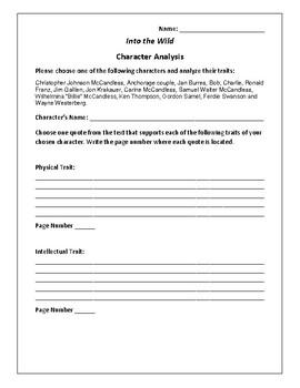 Into the Wild - Character Analysis Activity - Jon Krakauer