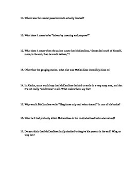 Into the Wild Quiz Set (reading comprehension and vocabulary)