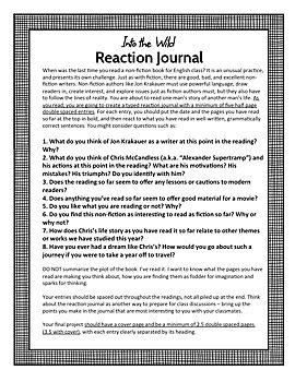 Into the Wild Reaction Journal, High School ELA