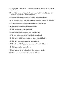 Into the Wild Reading Check Test/Quiz