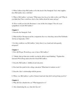 Into the Wild Study Guide - with research project