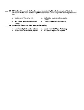 Into the Wild Test Quiz Author's Note - Chapter 5