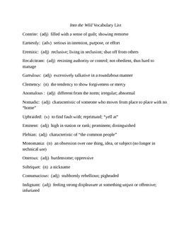 Into the Wild Vocabulary Unit