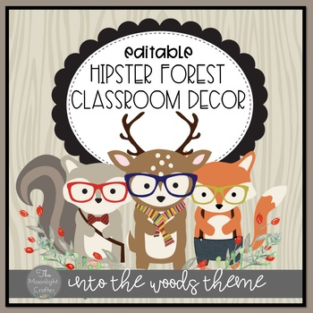 Into the Woods Hipster Forest Animal Themed Decor EDITABLE POWERPOINT FILE