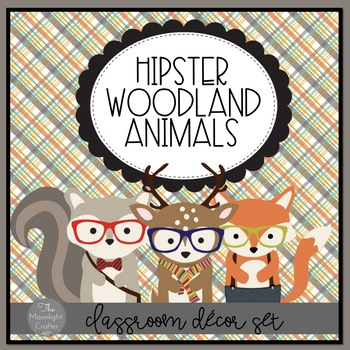 Into the Woods Hipster Forest Animals Room Decor Set