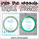 Into the Woods Table Numbers 1- 10 (Calming Woodland Theme)