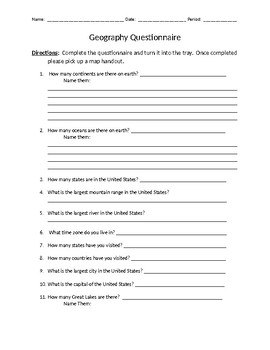 Into to Geography Questionnaire