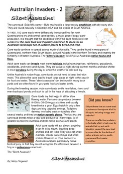 Intoduced Species Australia - Reading Activity Cards