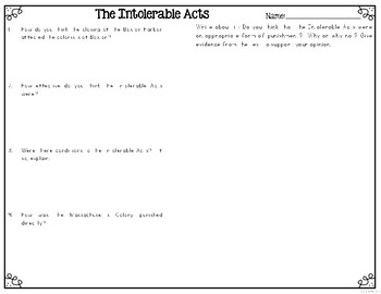 Intolerable Acts of 1744 Differentiated Reading Passages & Questions