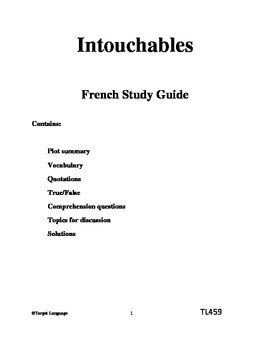 Intouchables-French Study Guide