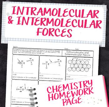 Intramolecular and Intermolecular Forces Chemistry Homework Worksheet