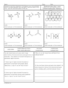 Intramolecular and Intermolecular Forces Chemistry Homework Worksheet
