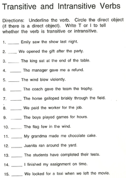 Intransitive and Transitive Verbs