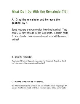 Intrepret the Remainder Word Problems
