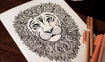Intricate Lion Coloring Page - A4 digital download printable PDF